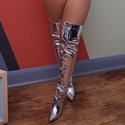 Fashion Silver Stiletto Heel Thigh High Boots