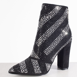 Pointed Toe Rhinestone Color Block Chunky Heel