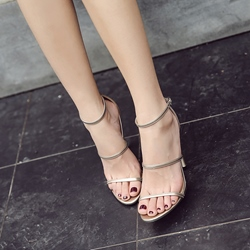 Line-Style Buckle Open Toe Dress Sandals