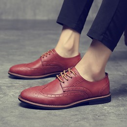 Shoespie Round Toe Men's Loafers Lace-Up Oxfords