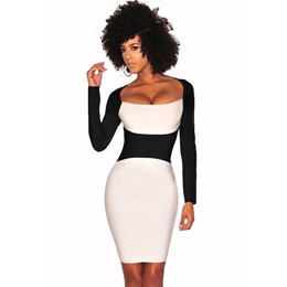 Color Block Raglan Long Sleeve Bodycon Dresses