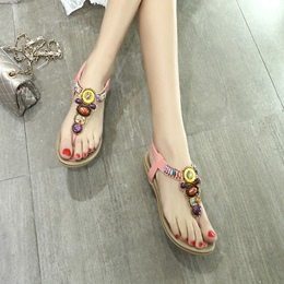 Beads Strappy Cowhells Flat Sandals