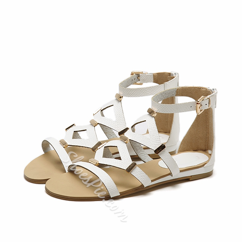 Open Toe Buckle Casual Flat Sandals