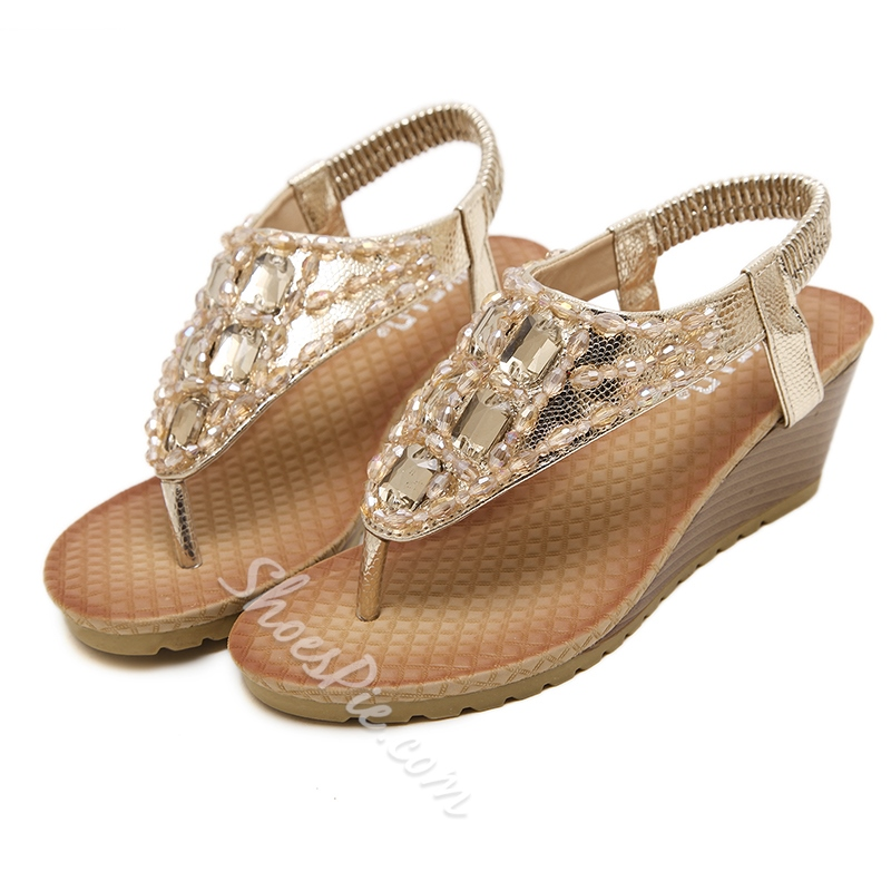 Thong Rhinestone Wedge Heel Casual Sandals