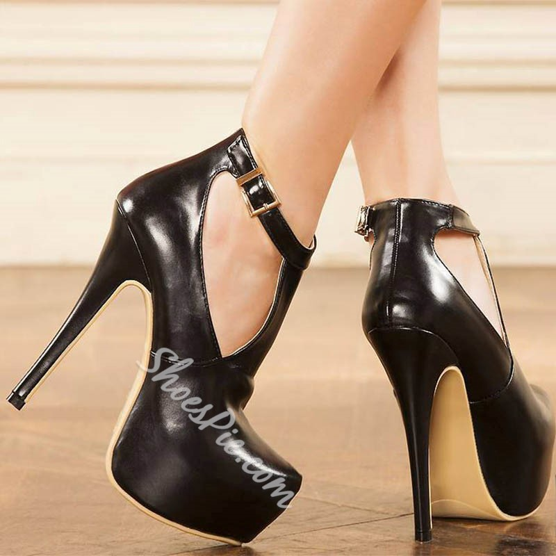 Shoespie T-Shaped Buckle Platform High Stiletto Heels