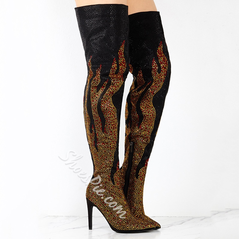 Sexy Rhinestone Stiletto Heel Thigh High Boots