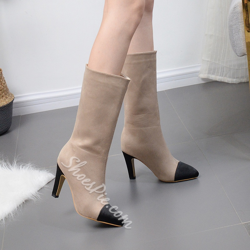Casual Chunky Heel Color Block Boots