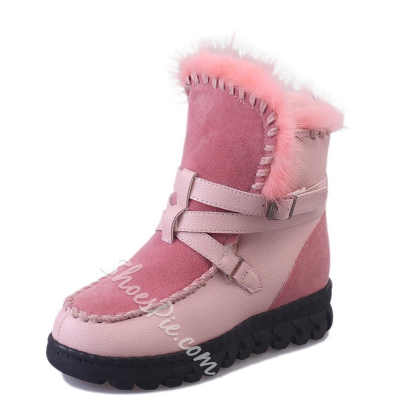 Slip-On Platform Hidden Elevator Heel Snow Boots