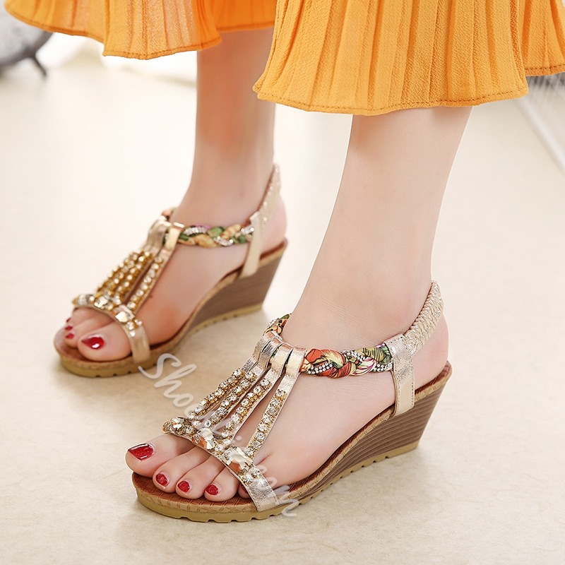 Rhinestone Strappy Wedge Heel Sandals