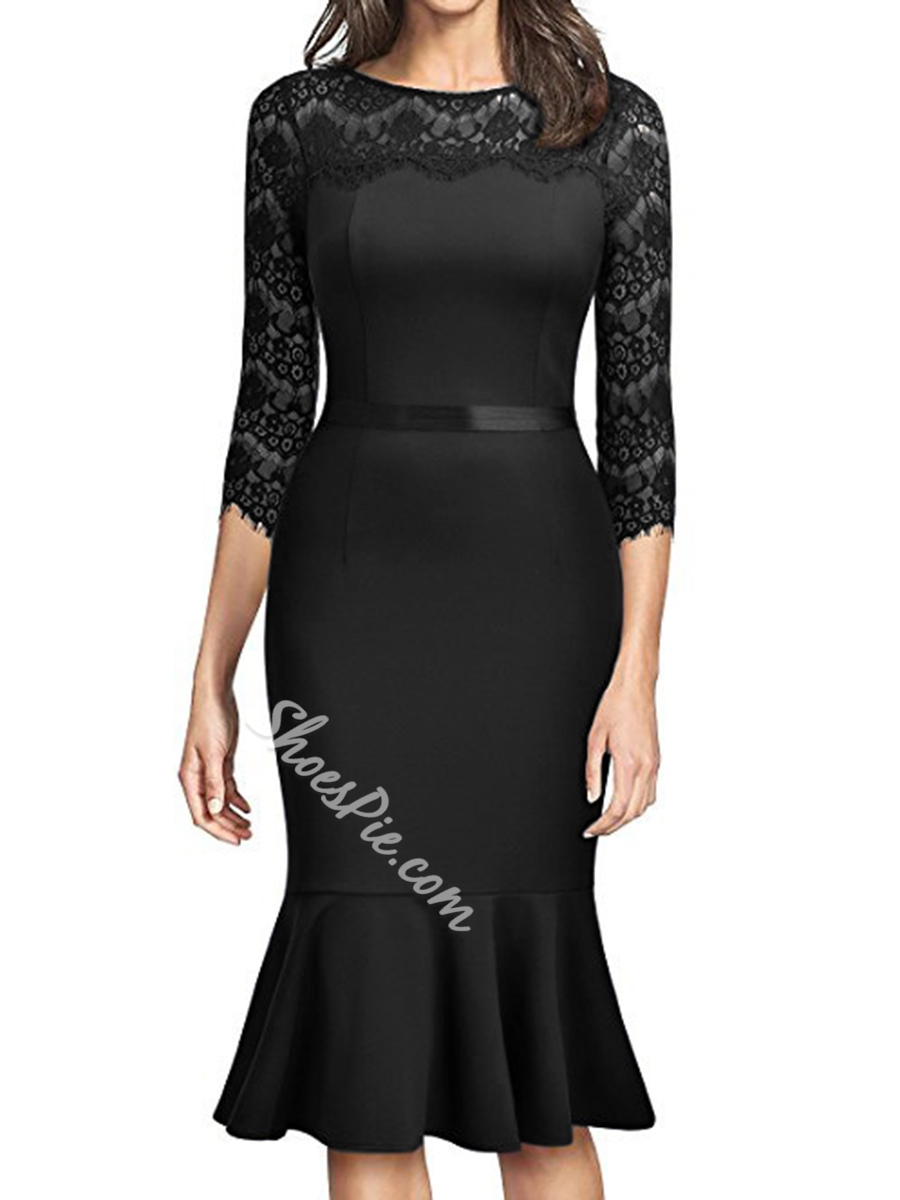 Mermaid Three-Quarter Sleeve Lace Bodycon Dresses