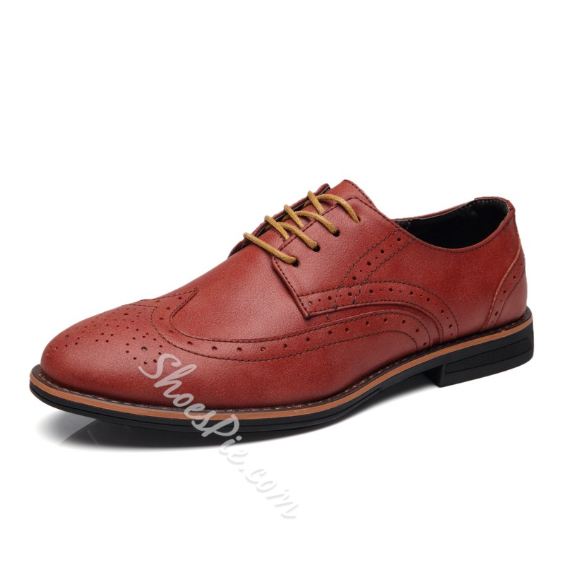 Round Toe Men's Loafers Lace-Up Oxfords