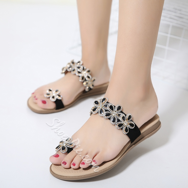 Floral Toe Ring Slip-On Sandals