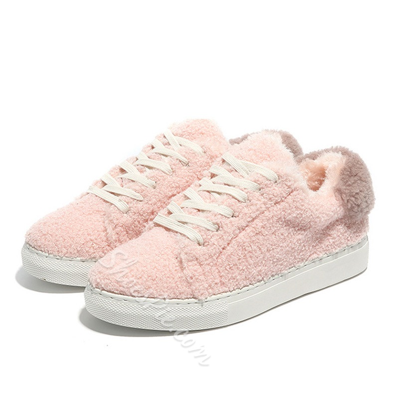 Short Floss Lace-Up Flat Heel Sneakers