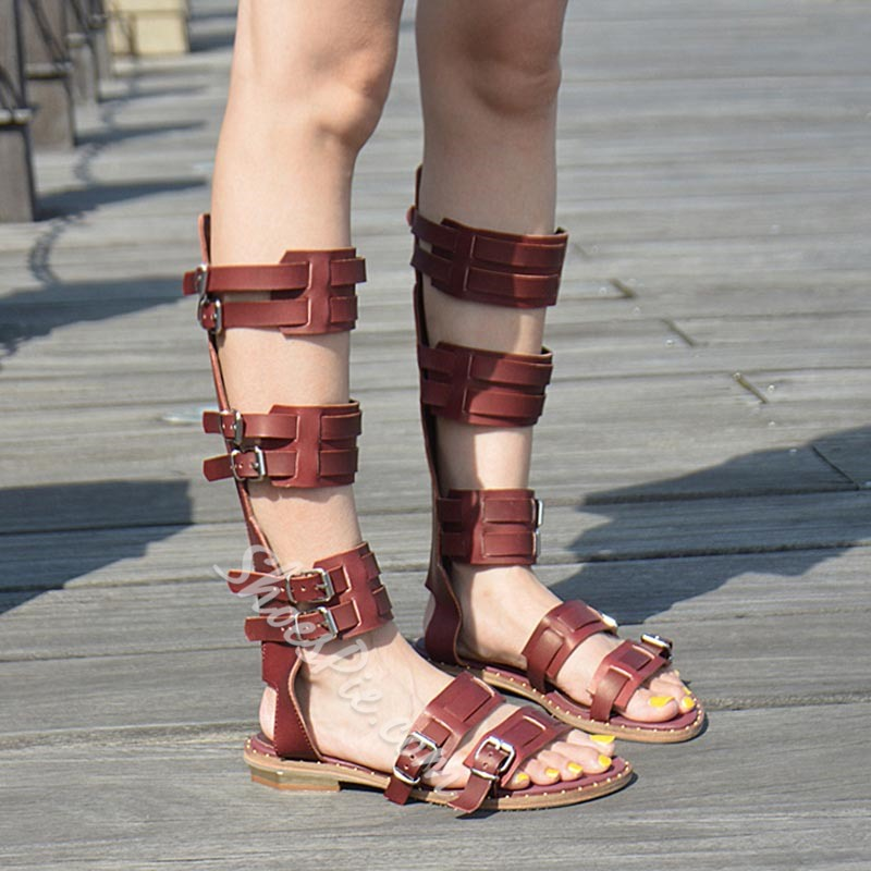 Shoespie Hollow Buckle Flat Boots