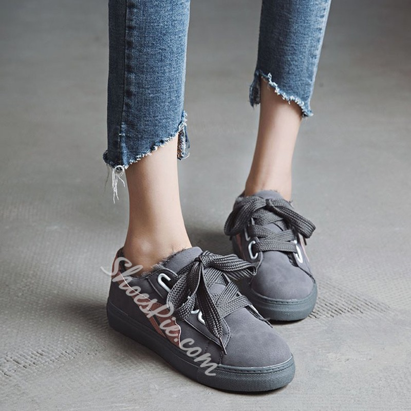 Lace-Up Flat Heel Short Floss Casual Sneakers