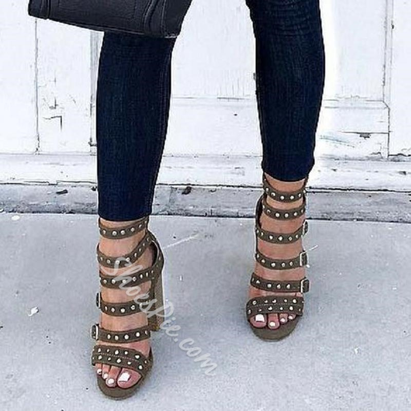 Line-Style Buckle High Heel Sandals