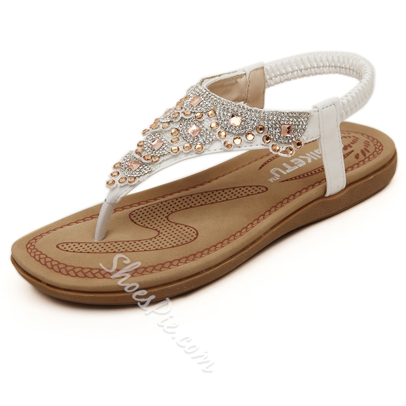 Rhinestone Casual Thong Flat Sandals