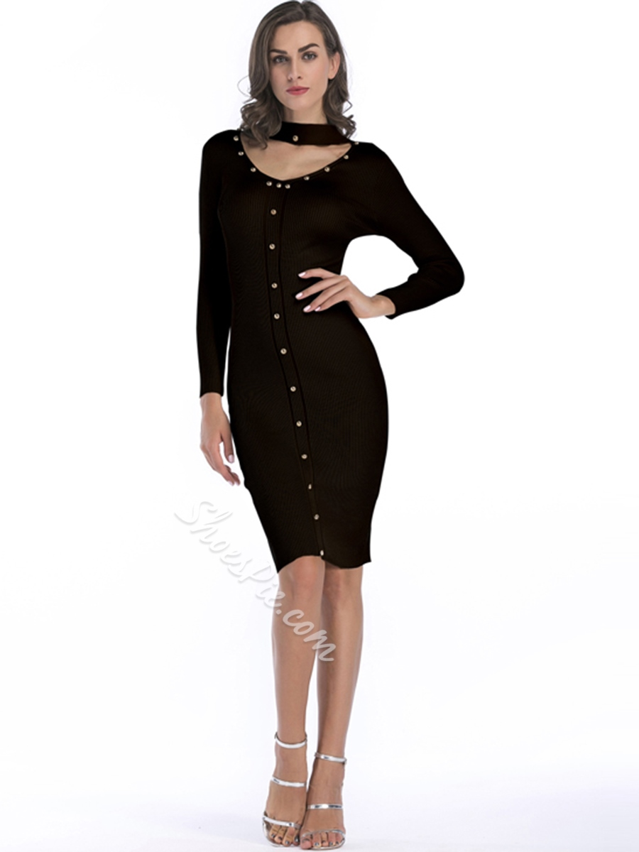 Sexy Knee-Length V-Neck Bodycon Dresses