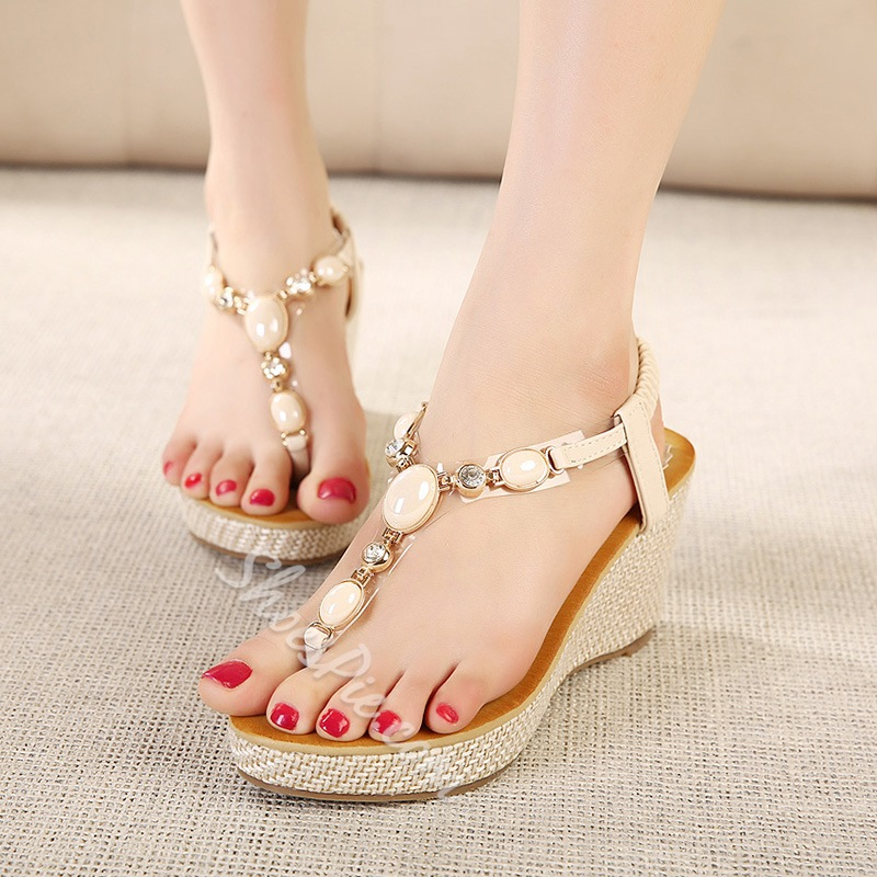 Shoespie Thong Rhinestone Wedge Heel Sandals