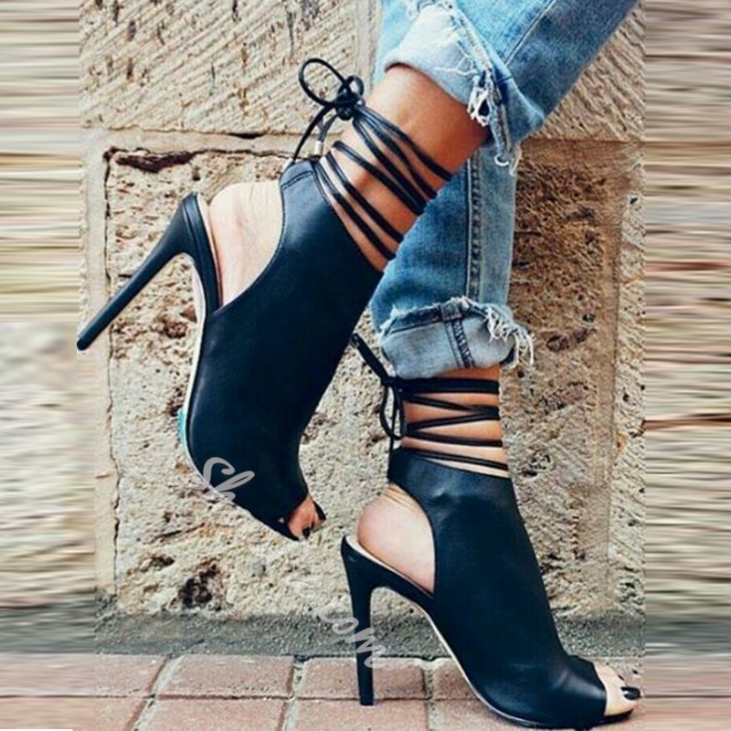 Black Lace-Up Open Toe Stiletto Heel Boots