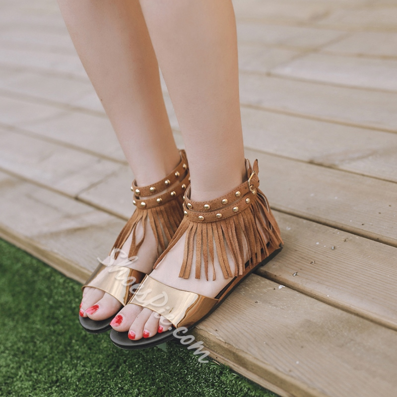Heel Covering Fringe Buckle Flat Sandals