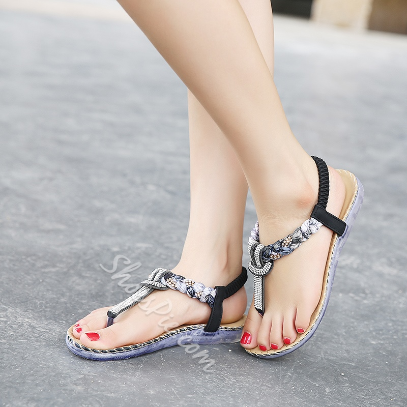 Shoespie Strappy Rhinestone Casual Sandals