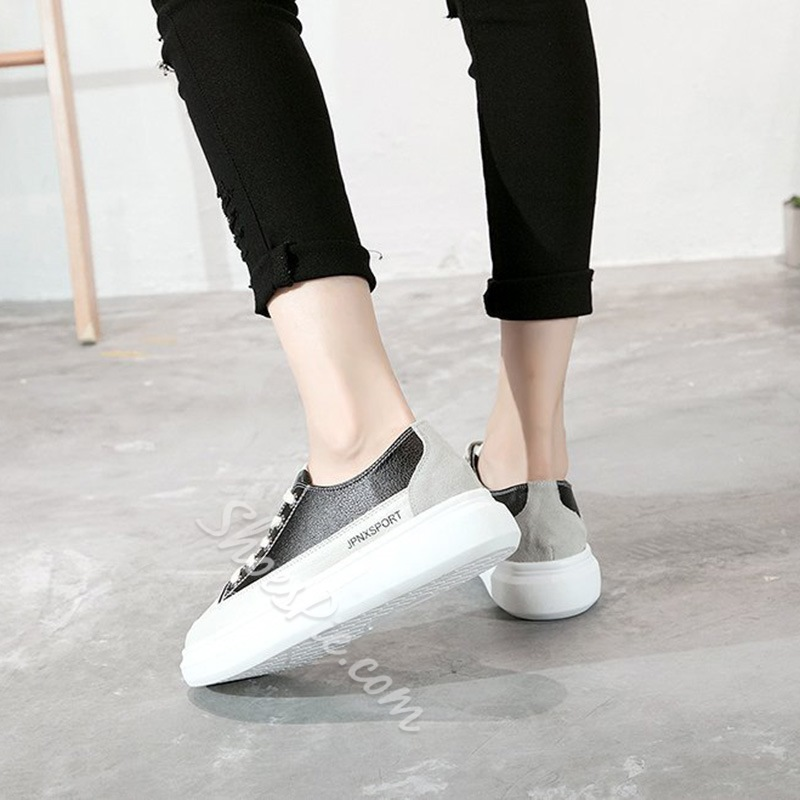 Lace-Up Color Block Women's Shoes