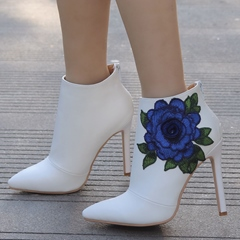 White Stiletto Heel Floral Wedding Embroidery Boots