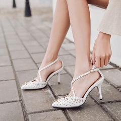 Rivet Pointed Toe Stiletto Heel Women's Shoes