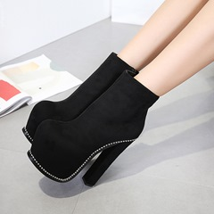 Beads Platform Chunky Heel Ankle Boots