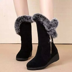 Winter Black Wedge Heel Snow Boots
