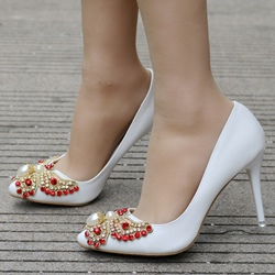 Rhinestone Beads White Stiletto Heels