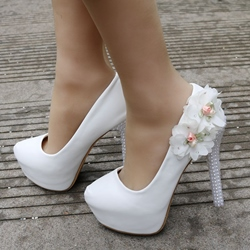 White Floral Beads Platform Wedding Shoes