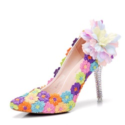 Rhinestone Floral Stiletto Heel Wedding Shoes