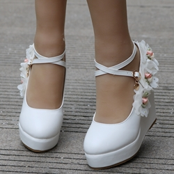White Floral Buckle Platform Wedding Shoes