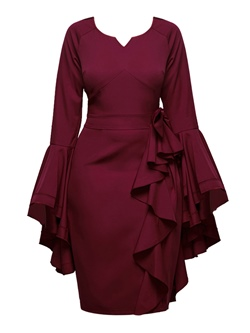 Ruffle Sleeve Lace-Up Bowknot Bodycon Dresses
