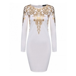 Print Round Neck Long Sleeve Bodycon Dresses