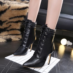 Stiletto Heel Lace-Up Front Ankle Boots