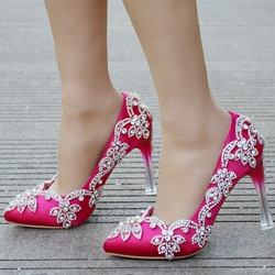 Shoespie Rhinestone Slip-On Wedding Shoes