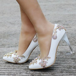 Shoespie Rhinestone Slip-On Stiletto Heel Wedding Shoes