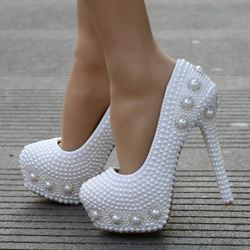 White Rhinestone Platform Wedding Shoes