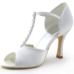 Peep Toe T-Shaped Buckle Wedding Shoes
