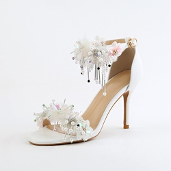 Floral Fringe Stiletto Heel Wedding Shoes