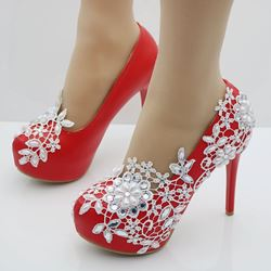 Red Rhinestone Platform Wedding Shoes