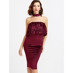 Falbala Backless Sleeveless Bodycon Dresses