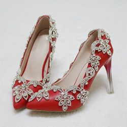 Shoespie Rhinestone Red Stiletto Heel Wedding Shoes