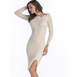 Slash Neck Knee-Length Bodycon Dresses