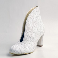 Lace Chunky Heel Wedding Slip-On Boots