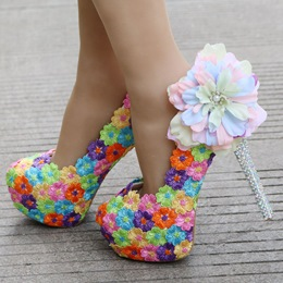 Floral Rhinestone Platform Wedding Shoes