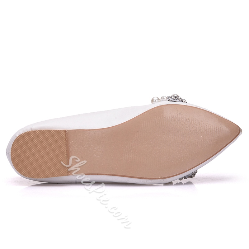 Rhinestone Beads Slip-On Wedding Shoes